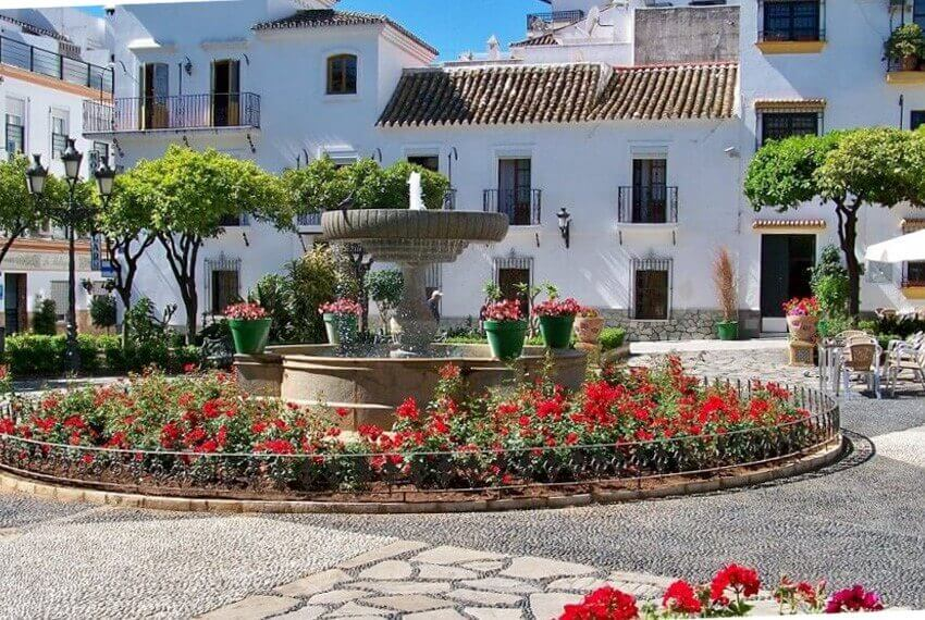 "Public square in Estepona, the ""flower garden of Costa del Sol"" elevates the appeal of property for sale in Estepona"